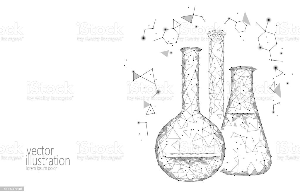 Chemische glazen flessen van de wetenschap van de lage poly. Magische apparatuur veelhoekige driehoek grijs wit monochroom abstract onderzoek toekomstige technologie bedrijf geneeskunde concept vectorillustratievectorkunst illustratie