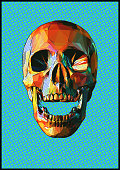 Low poly skull popart style