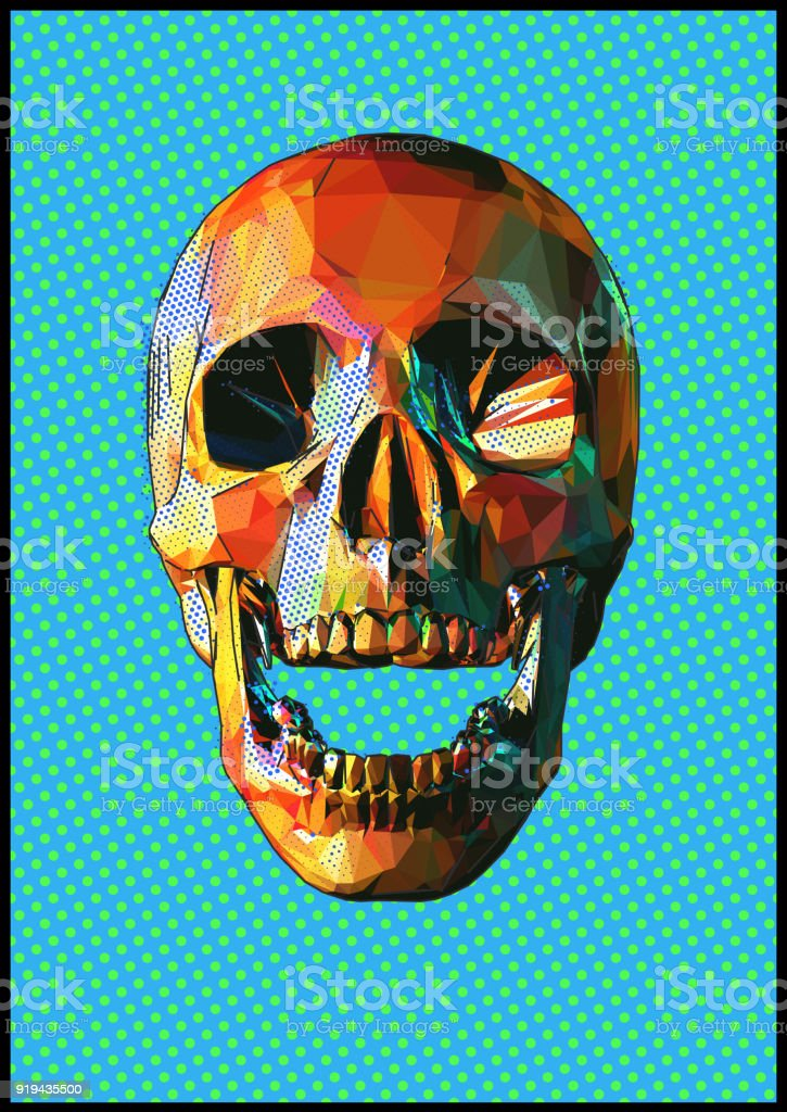 Low poly skull popart style vector art illustration
