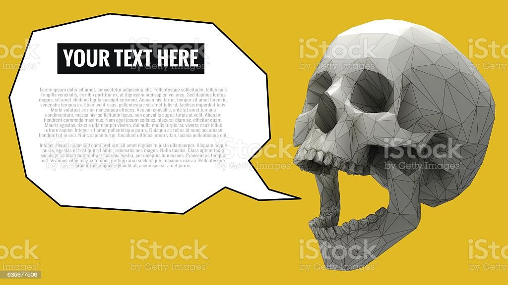 Low poly skull with balloon for text on yellow BG vector art illustration