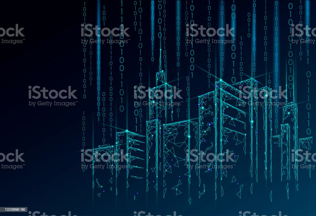 Low poly smart city 3D wire mesh. Intelligent building automation system business concept. Binary code number data flow. Architecture urban cityscape technology sketch banner vector illustration - Royalty-free Abstract stock vector