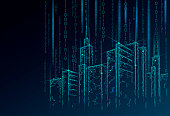 Low poly smart city 3D wire mesh. Intelligent building automation system business concept. Binary code number data flow. Architecture urban cityscape technology sketch banner vector illustration art