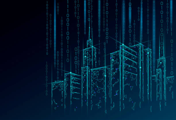 low poly smart city 3d wire mesh. intelligent building automation system business concept. binary code number data flow. architecture urban cityscape technology sketch banner vector illustration - abstract architecture stock illustrations