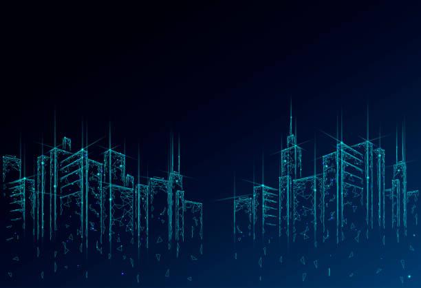 ilustrações de stock, clip art, desenhos animados e ícones de low poly smart city 3d wire mesh. intelligent building automation system business concept. high skyscrapers border pattern background. architecture urban cityscape technology vector illustration - smart city