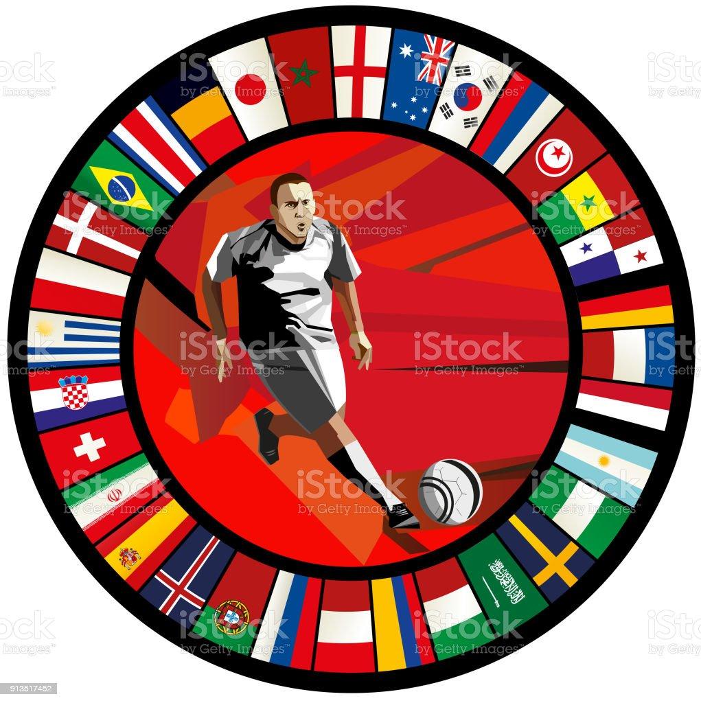 Jugador de fútbol de baja poli contra un círculo de banderas - ilustración de arte vectorial