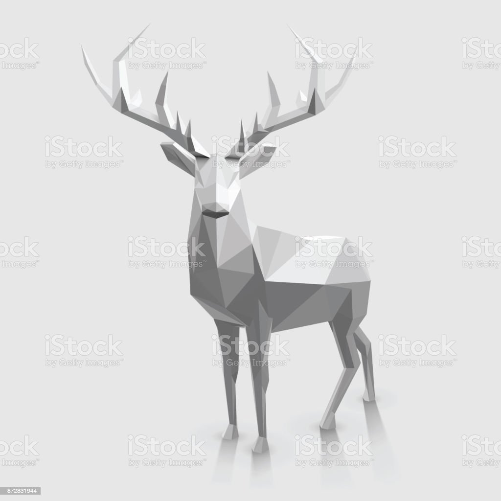 Low Poly Stag Polygonal animal illustration. Christmas graphic element. Abstract stock vector