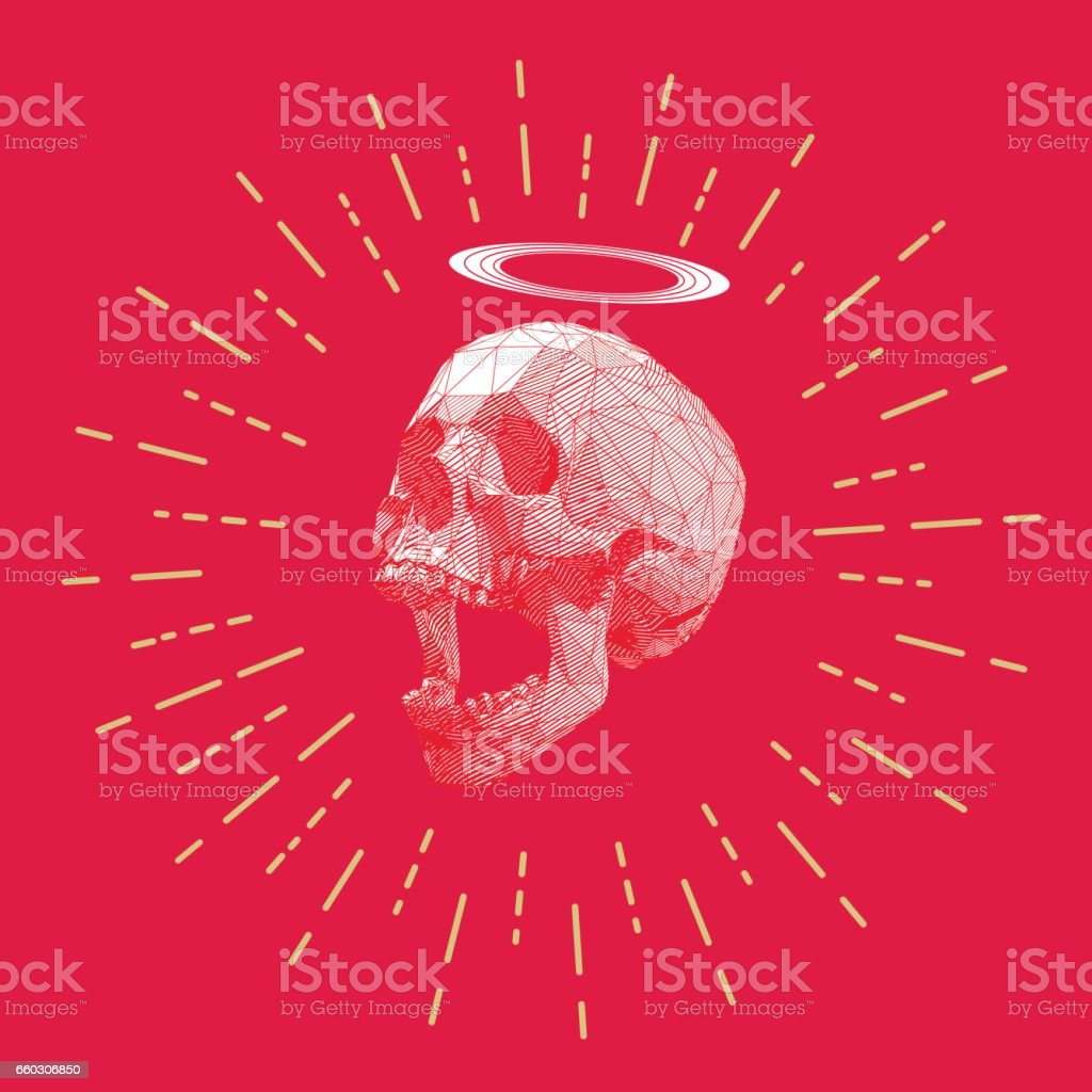 Low poly stripe skull with starburst drawing vector art illustration