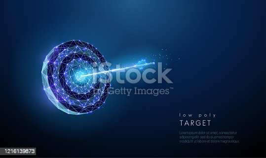 Darts board with arrow in the center. Target. Low poly style design. Abstract blue geometric background. Wireframe light connection structure. Modern 3d graphic concept. Isolated vector illustration.