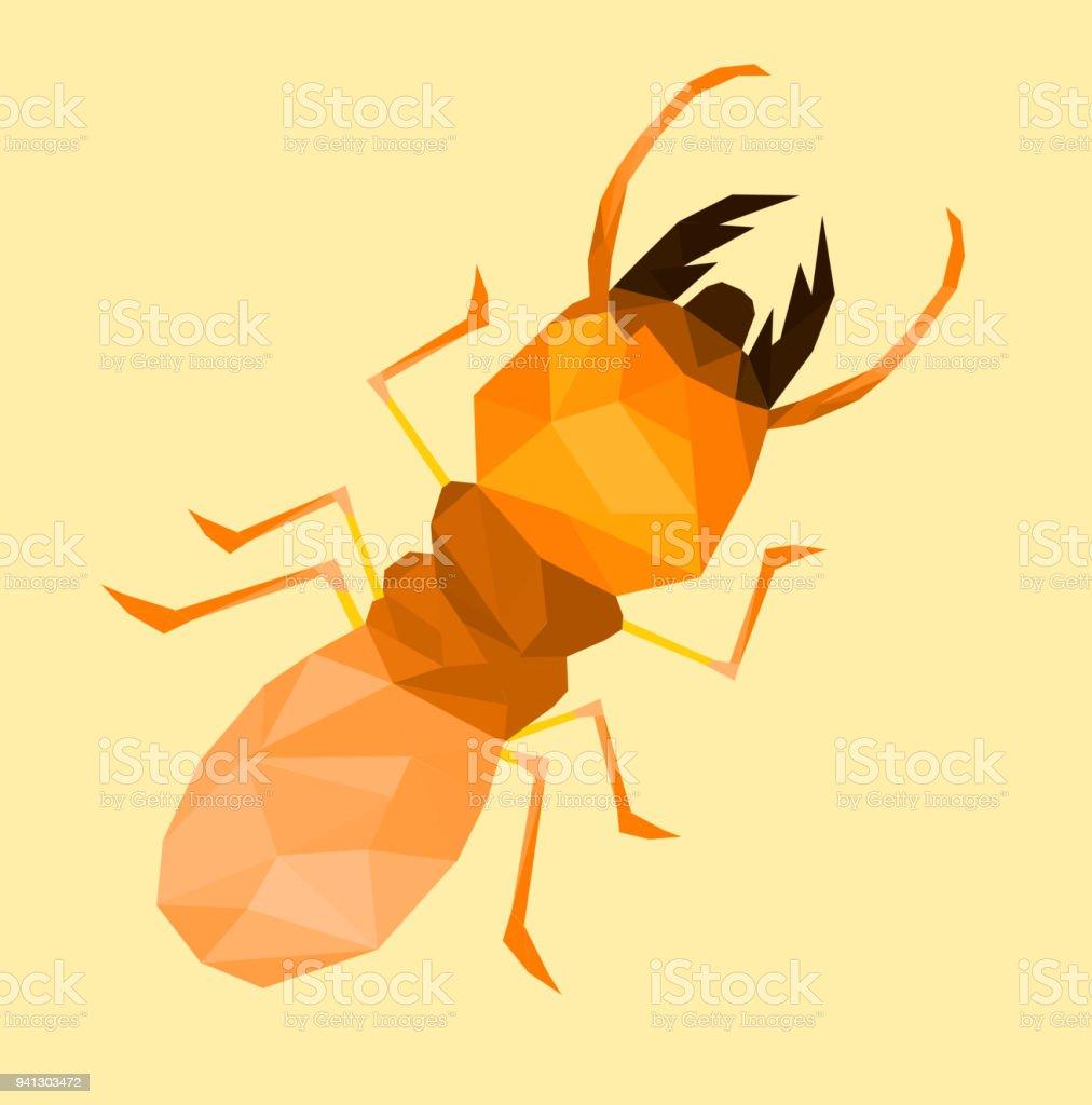 Ilustración de Termitas De Baja Poli Con Espalda Naranja Suave ...