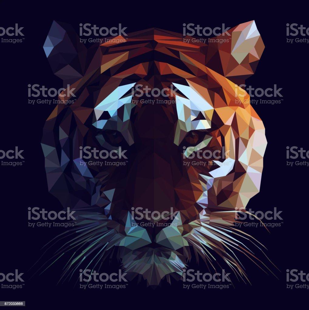 Low Poly Tiger vector art illustration