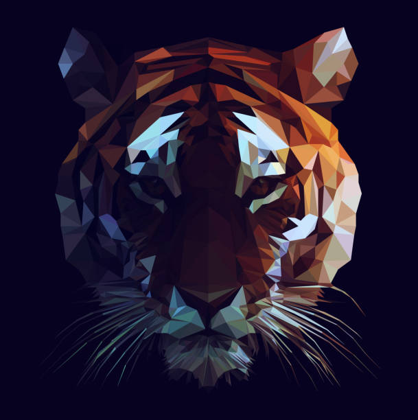 low poly tiger - tiger stock illustrations, clip art, cartoons, & icons