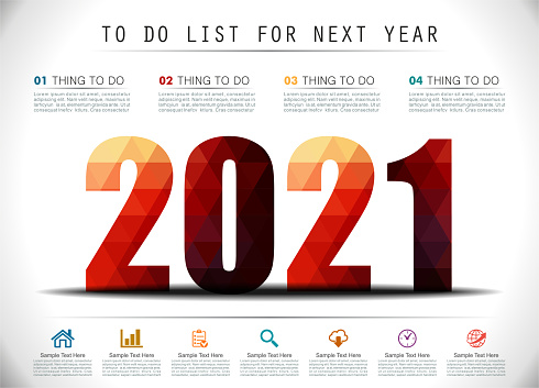 Low Poly To Do List For New Year 2021 Infographics