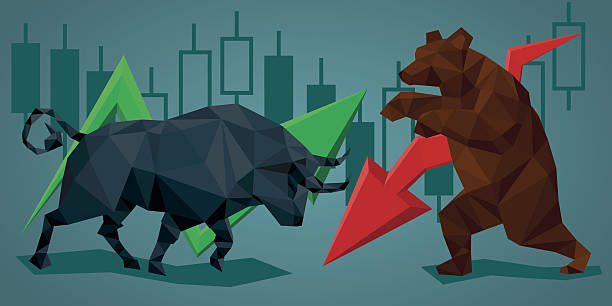 stockillustraties, clipart, cartoons en iconen met low poly trade bull and bear. - bearmarkt