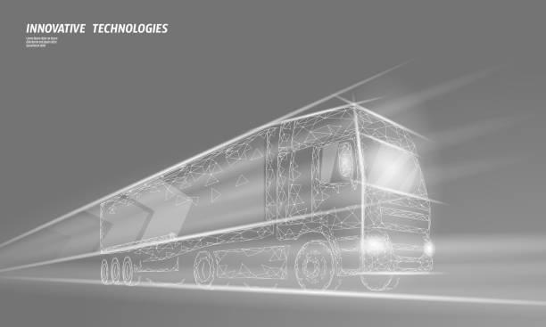 stockillustraties, clipart, cartoons en iconen met lage polytrans port abstracte truck. vrachtwagen van snelle levering scheepvaart logistiek. veelhoekige grijze mist snelheid snelweg industrie internationaal vervoer verkeer vector illustratie - mist donker auto