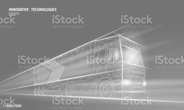 Lage Polytrans Port Abstracte Truck Vrachtwagen Van Snelle Levering Scheepvaart Logistiek Veelhoekige Grijze Mist Snelheid Snelweg Industrie Internationaal Vervoer Verkeer Vector Illustratie Stockvectorkunst en meer beelden van Aanhangwagen