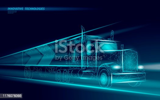 istock Low poly transport abstract truck. Lorry van fast delivery shipping logistic. Polygonal dark blue speed highway industry international transportation traffic vector illustration 1176078393