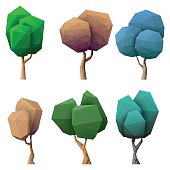 Vector illustration of a set of low poly trees