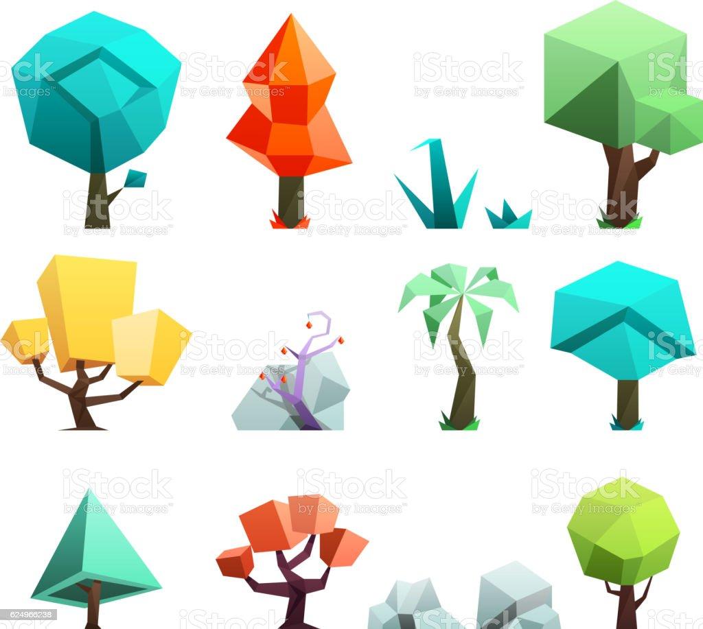 Low poly trees rocks grass icons set vector illustration vector art illustration