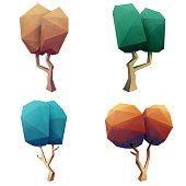Vector illustration of a set of colorful low poly modelling trees