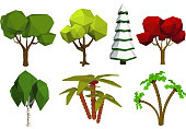 Low poly trees. Vector set of trees in the style of low poli. Birch, spruce, oak, palm. Stock 'nvector illustration