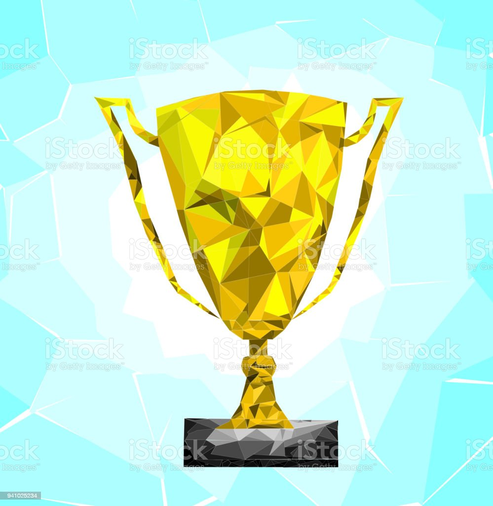 Low Poly Trophy With Soft Blue Back Ground Championwinner
