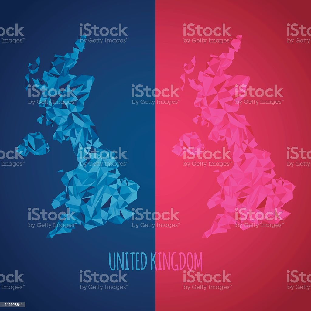 Low Poly United Kingdom Map with National Colors vector art illustration