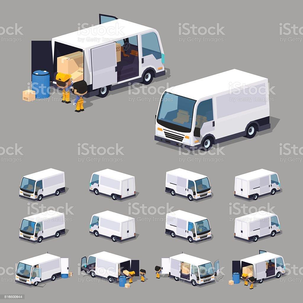 Low poly white van vector art illustration