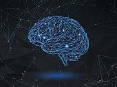 Low poly wireframe brain on dark space BG