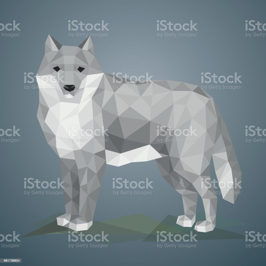 Low poly wolf. Vector illustration in polygonal style. vector art illustration