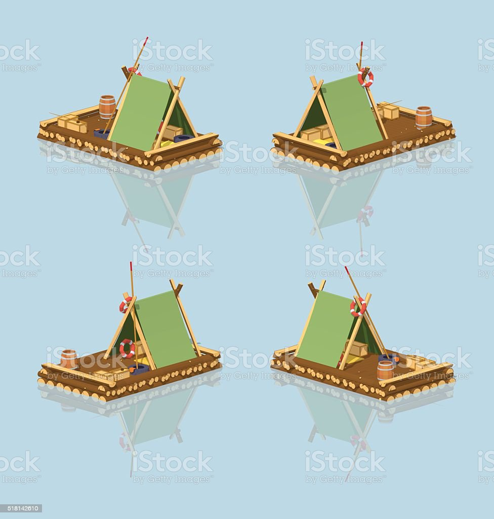 Low poly wooden raft vector art illustration