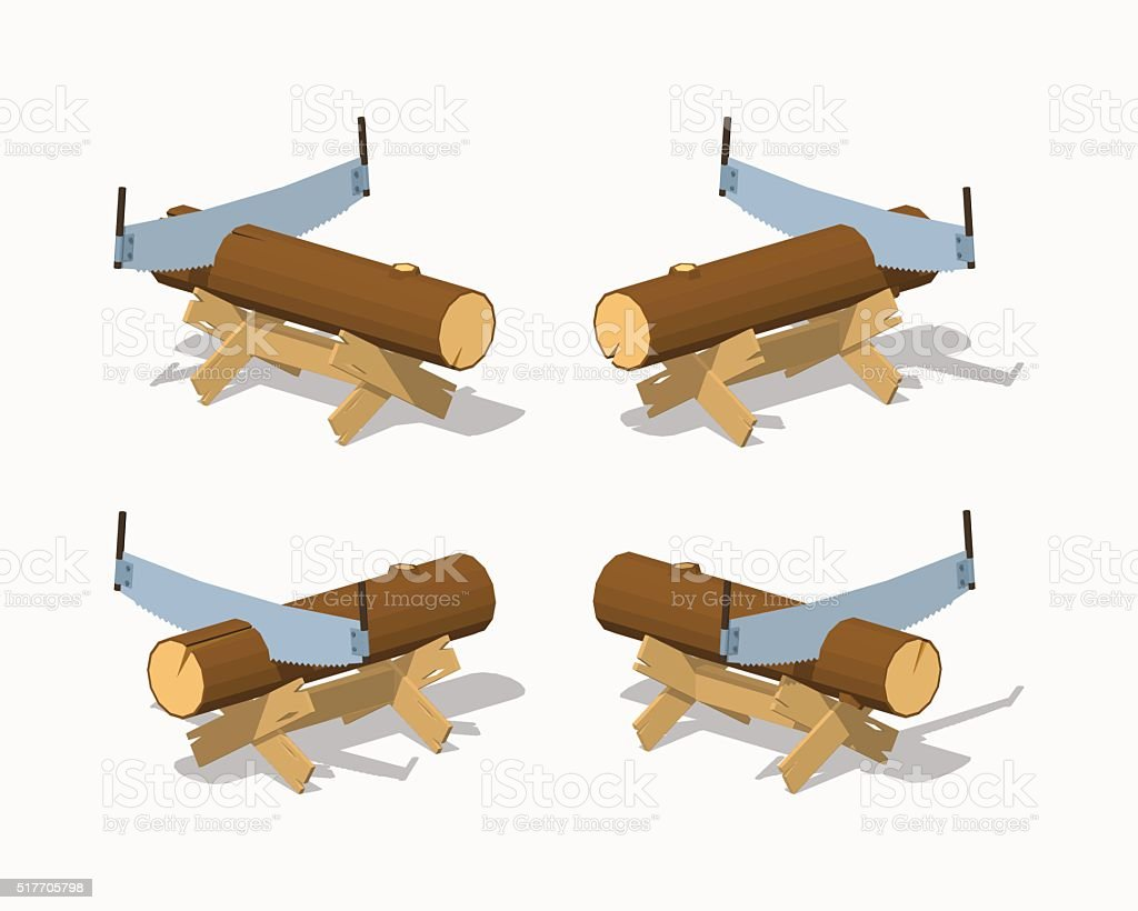 Fine Low Poly Work Bench With The Log And Handsaw Stock Beatyapartments Chair Design Images Beatyapartmentscom