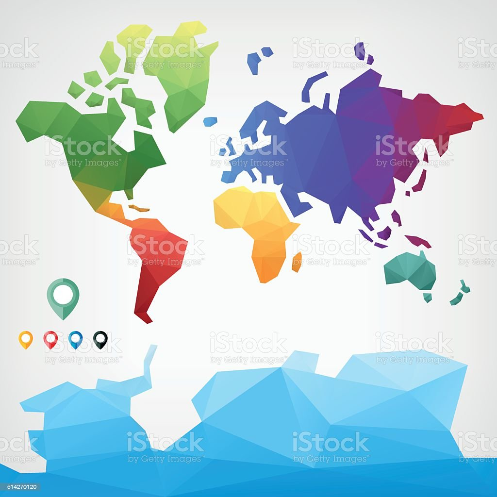 Low poly world map stock vector art more images of africa low poly world map royalty free low poly world map stock vector art amp gumiabroncs Image collections
