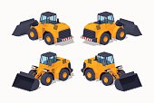 Yellow heavy bulldozer. 3D lowpoly isometric vector illustration. The set of objects isolated against the white background and shown from different sides