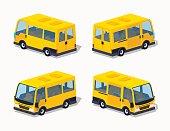 Low poly yellow passenger minivan