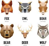 istock Low polygon animal logos. Triangular geometric animals logo set 533042238