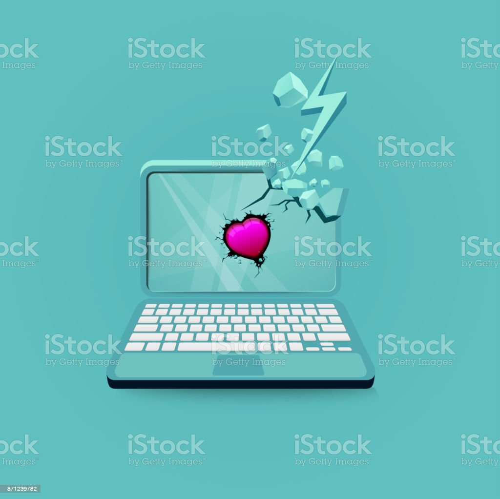 Low Polygon Computer with Red Heart for Love vector art illustration