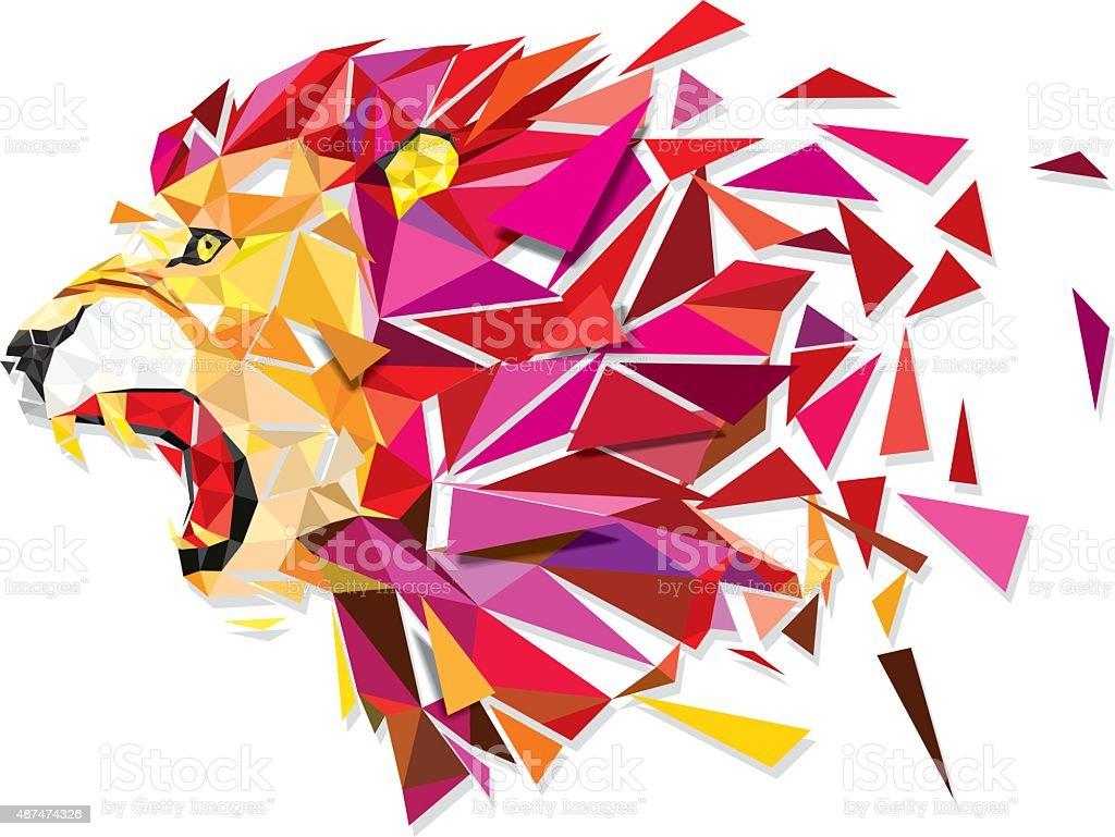 Low polygon Llion geometric pattern explode - Vector illustratio vector art illustration