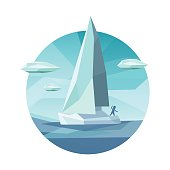 Low polygon sailing ship icon. Creative low polygonal vector illustration. Man on boat in the sea in low polygon style. Trendy icon concept.