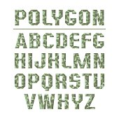Low polygon sans serif font in military style. Color print on a white background