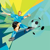 Low polygon illustration of a soccer player making a tremendous kick while jumping in mid air.   http://www.kyc.com.uy/istock/banners/banner_SOCCER.jpg