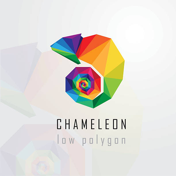 low polygon style abstract multicolored chameleon logo element - chameleon stock illustrations