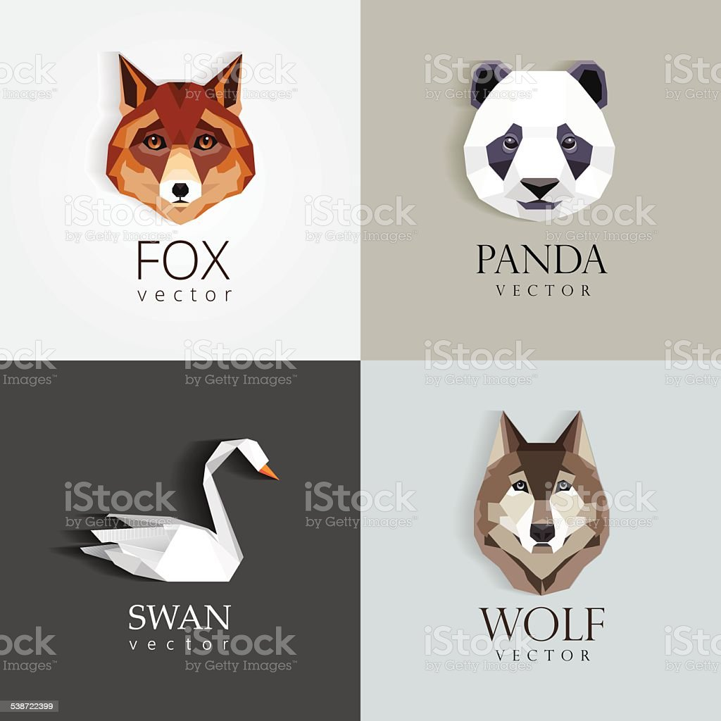 low polygon style animals- swan, fox, panda, wolf icons vector art illustration