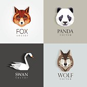 low polygon style animals- swan, fox, panda, wolf icons