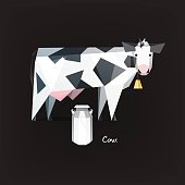 Low polygonal cow and milk canister