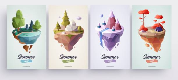 Low polygonal geometric nature islands. Vector Illustration, low poly style. Background design for banner, poster, flyer, cover, brochure. Low polygonal geometric nature islands. Vector Illustration, low poly style. Background design for banner, poster, flyer, cover, brochure. low poly modelling stock illustrations