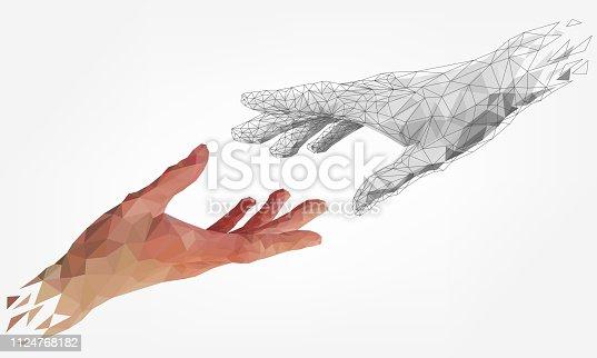 istock Low polygonal human and robot hands 1124768182