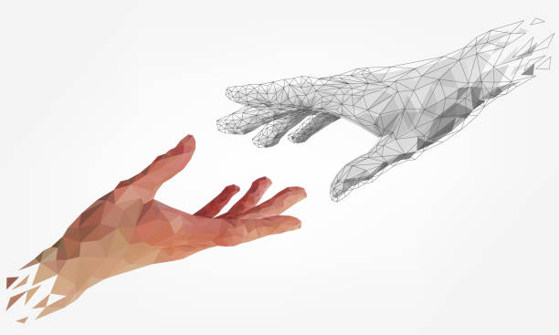 Low polygonal human and robot hands Low polygonal hands, human and robot arms, partnership of people and robots, computer graphics artificial stock illustrations