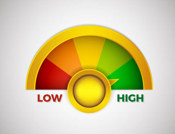 Low to High meter rate with colors from red to green. Vector illustration design from worst to best gauges vector art illustration