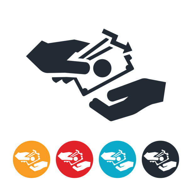 Low Wages Icon An icon of a hand paying wages with an arrow pointing down to indicate lowering of wages. minimum wage stock illustrations