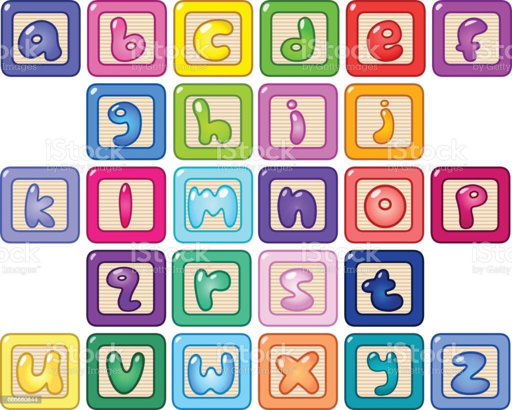 Bloques del alfabeto de minúsculas - ilustración de arte vectorial